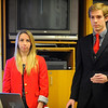 Worcester Polytech Institute students Rachel Feyler, 21, of Medfield, MA, and Brian Gallenstein, 21, of Orange County, CA give a solar energy presentation to the Montachusett Energy Advisory Committee, Friday.<br /> SENTINEL & ENTERPRISE / BRETT CRAWFORD