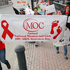 AIDS Awareness Day was observed by Montachusett Opportunity Council, Inc. (MOC) on March 10, National Women and Girls HIV/AIDS Awareness Day. they held a one mile walk on the streets of Fitchburg. Carring a the banner for the event is Analuisa Herrera, 18, a student at Monty Tech. and Marymar Perez, 18, a student at Goodrich Academy. SENTINEL & ENTERPRISE/JOHN LOVE
