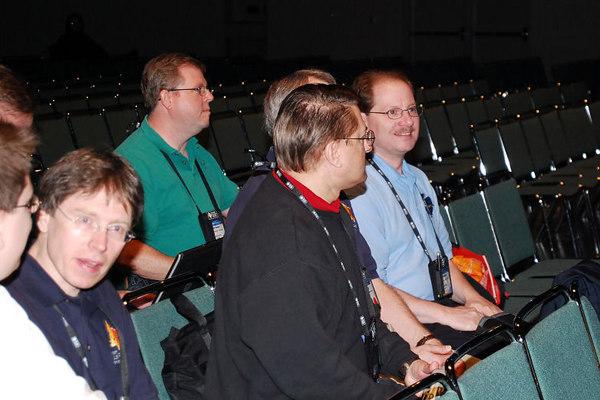 Christof Wollenhaupt (white shirt), Igor Vit, Craig Berntson, Doug Hennig (covered), Rick Schummer, {unk} (in the back)