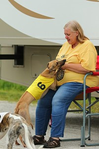 #6 Puma gets love from his owner Sue Weilbacher after a race