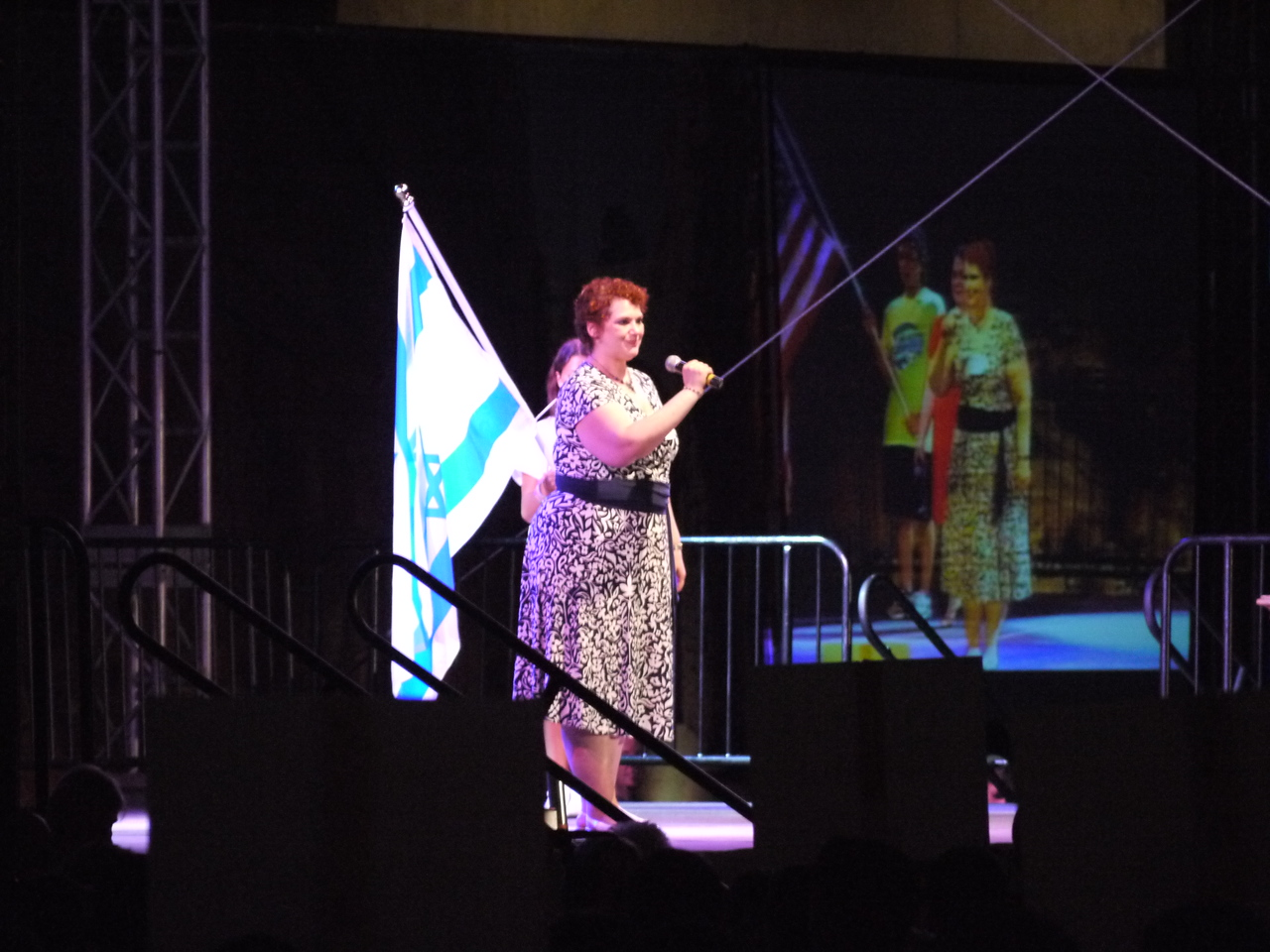 Cantor Michele Friedman of the Montebello Jewish Center about to sing the Israeli national anthem, Hatikva.