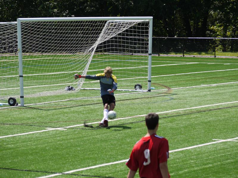 Springfield's goalie kicking