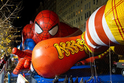 Balloon inflation night before the parade.  Ronald McDonald kicking Spiderman in the face.