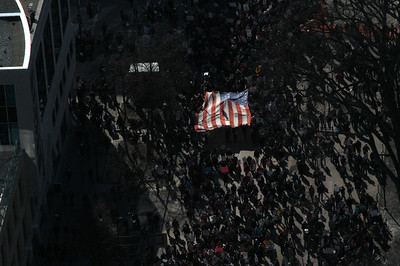 A Large American Flag Sees The Light. Saturday Feb 19,2011 Madison WI