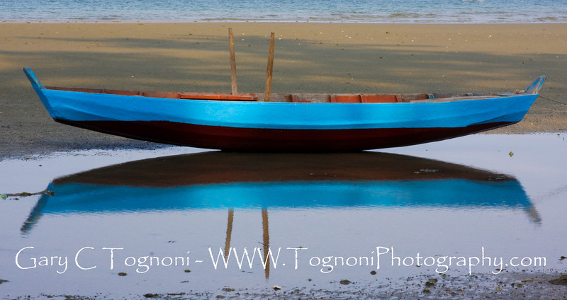 """""""Blue Boat"""" I found this gorgeous blue boat and reflection on the Vietnamese island of Phu Quoc."""