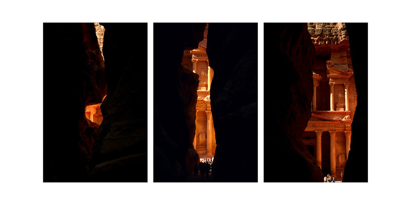 Petra Triptych - These images were made walking through the Siq, the slot canyon entrance into Petra. - 2010 show.