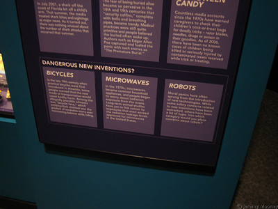 Robots listed as dangerous new inventions in the SMM fear exhibit.