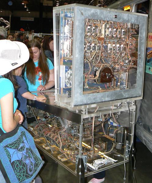 Inside of a pinball machine