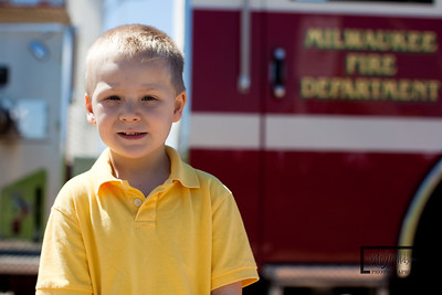 Cooper and a Fire Truck