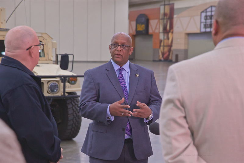 March 24, 2020 - Mayor Young and Governor Hogan Tour Baltimore Convention Center w/the Maryland National Guard