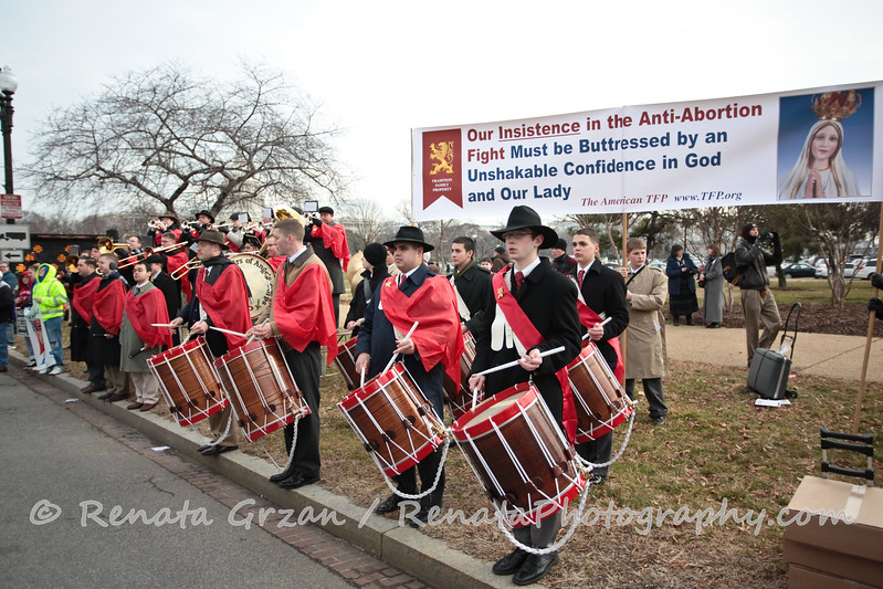 """The American Society for the Defense of Tradition, Family and Property are always a pleasure to see and hear with their great music and colorful banners.   <a href=""""http://www.tfp.org"""">http://www.tfp.org</a>"""