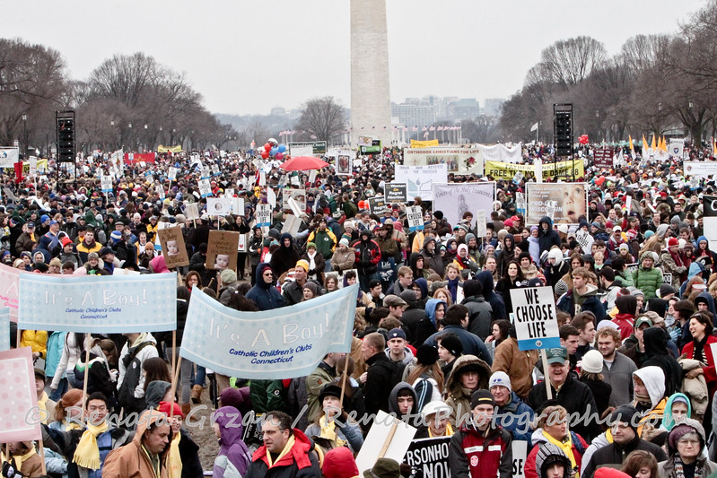 The crowd seems to extend to the end of the Mall, while others who could not fit on the Mall, spilled out into the streets for blocks.