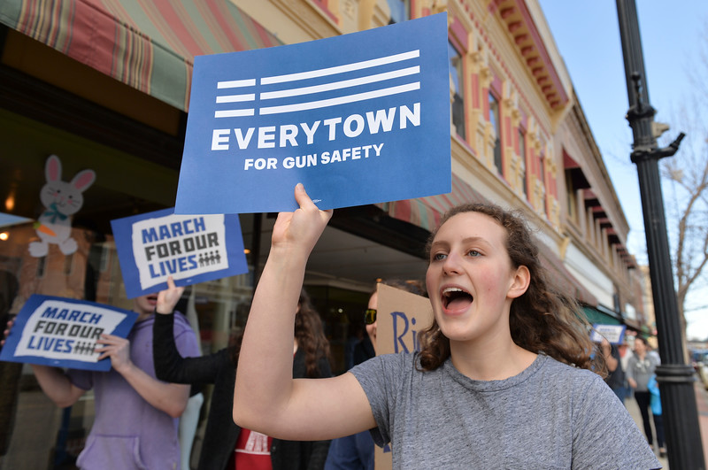 "Justin Sheely | The Sheridan Press<br /> Maggie Pierce chants, ""Don't be silent, end the gun violence"" during The March for Our Lives demonstration on Main Street in Sheridan Saturday, March 24, 2018. Sheridan area students and community members participated in the march in solidarity with the rally in Washington, D.C."