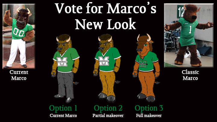 Marshall fans will have the opportunity to vote on Marco's new look on Facebook until Aug. 10.