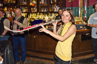 "Lovely Teresa delivering a ""Shot Ski""."