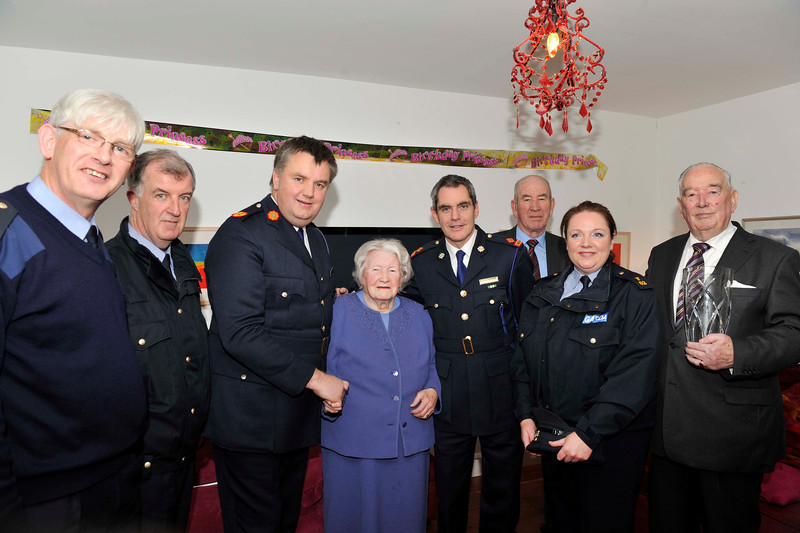 Image features L to R: Garda John Paul Durkan, Sergeant Vincent Totterdell, Assistant Commissioner Fintan Fanning, Margaret McNaught, Superintendent Martin Fitzgerald (Dún Laoghaire Garda District), Paddy Naught (son of Margaret and retired Sergeant), Garda Geogina Reilly, and Brian Kelly, Chairman of Dún Laoghaire branch Garda Retirement Association who presented Margaret with an inscribed bowl and flowers on behalf of the DL Branch GSRMA.<br /> <br /> For further information contact Eddie Ryan Tel.+353.87.2240439<br /> Photograph: Margaret Brown Tel. +353.86.8535557