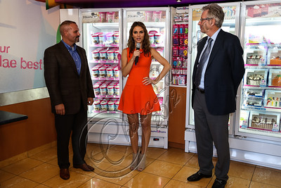 BURBANK, CA - OCTOBER 04:  (L-R) Sr. vice president /brand officer of Baskin-Robbins Bill Mitchell, actress Maria Menounos and CEO of Dunkin' brands / president of Dunkin' Donuts Nigel Travis attend the launch of Dunkin' Donuts K-Cups at Baskin-Robbins on October 4, 2012 in Burbank, California.  (Photo by Chelsea Lauren/FilmMagic)