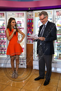 BURBANK, CA - OCTOBER 04:  Actress Maria Menounos (L) and CEO of Dunkin' brands / president of Dunkin' Donuts Nigel Travis attend the launch of Dunkin' Donuts K-Cups at Baskin-Robbins on October 4, 2012 in Burbank, California.  (Photo by Chelsea Lauren/FilmMagic)