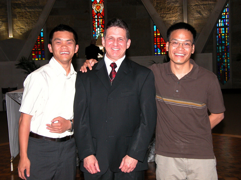 Frater Mark with members of his formation community:  Long Nguyen (novice) and Frater Duy Nguyen.