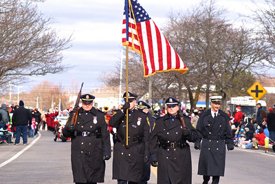 Color guard leads the annual Falmouth Christmas Parade...Falmouth, MA
