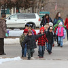 Chadron kindergarten students cross 10th Street en route to Memorial Hall for the Martin Luther King Day celebration Jan. 21. (Photo by Justin Haag)