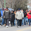 Marchers make their way up Main Street during Chadron State College's Martin Luther King Jr. Day observance Jan. 21. The marchers walked seven blocks from downtown Chadron to a celebration at Memorial Hall. (Photo by Justin Haag)