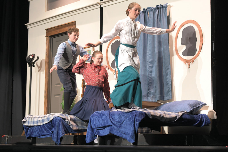 "Matthew Gaston | The Sheridan Press<br>Michael and Jane Banks, played by Camden and Charlize Gonda, discover that Mary Poppins, played by Vivi Ostheimer, is ""Practically Perfect"" Wednesday, June 12, 2019."