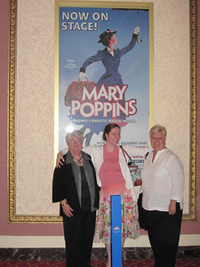 Lovely ladies! Aunt Betty, Megan and Mom.  The blue box in front of Meg is a Mary Poppins umbrella!!