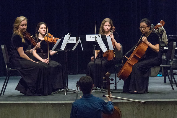 Albuquerque Youth Symphony Program string quartet listening to critique from Michael Katz, Lysander Piano Trio