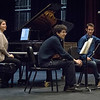 Lysander Piano Trio taking questions from master class audience.