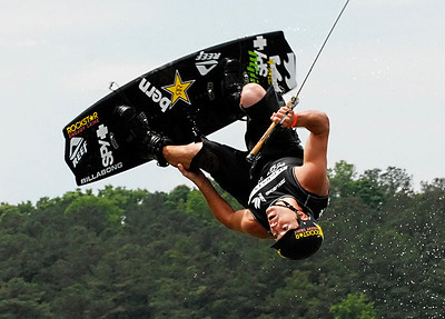 Chad Sharpe of Cloverdale, British Columbia competes in the Pro Men Quarter Finals Saturday afternoon during the MasterCraft Pro Wakeboard Tour at Dallas Landing Park in Acworth.