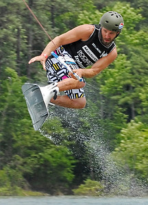 Ben Greenwood glides in the air for a moment as he competes in the Pro Men's Quarter Finals Saturday afternoon.