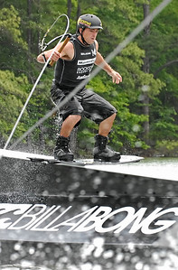 Chad Sharpe of Cloverdale, British Columbia glides down a ramp Saturday afternoon as he competes in the Pro Men's Quarter Finals of the MasterCraft Pro Wakeboard Tour in Acworth.
