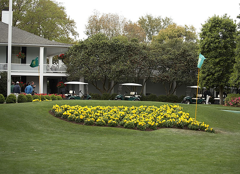The symbol of the Masters. Out of the frame is a huge line of people waiting to get their photos in front of the flowers.