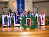 Visiting SCJs join Fr. Mark around the altar.  Those in attendance included Fr. Francis-Vu Tran, Fr. Michael van der Peet, Fr. Yvon Sheehy, Fr. Jan de Jong, Fr. Tony Russo, Fr. Vien Nguyen, Fr. Richard Johnston and Br. Ben Humpfer.