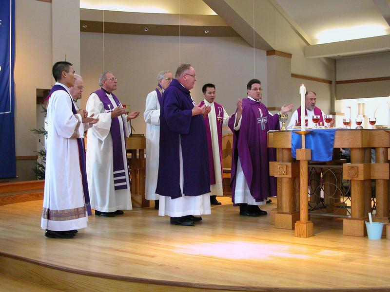 At the altar.