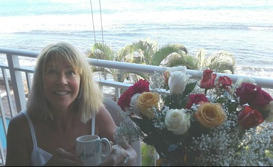 birthday flowers and hot coffee