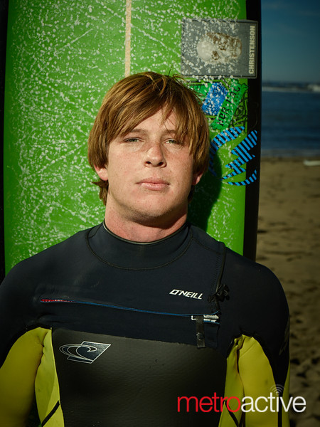 "Colin Dwyer before his heat at the 2013 Mavericks Invitational surf competition in Half Moon Bay, California.  Photo by Peter Adams  <a href=""http://www.peteradamsphoto.com"">http://www.peteradamsphoto.com</a>)."