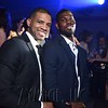 UK basketball player Alex Poythress, right, and a friend at the 6th Annual Fillies and Stallions Derby Eve Party at the Mellwood Arts Center Friday night. May 6th, 2016.