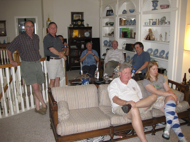 "Pictured (L to R standing) me, Jim Anderson, Lance (behind Jim), Jim Meine of Epic Audio, Jim ""diffractionbegone"" Goulding, Frank Latimer (TG Audio Cables). Seated are Fred Crowder and Sarah Cooke. Not shown in any of the pictures is Keith Forrest, Houston's Gilmore Audio dealer, who was behind the camera each time a picture was taken."