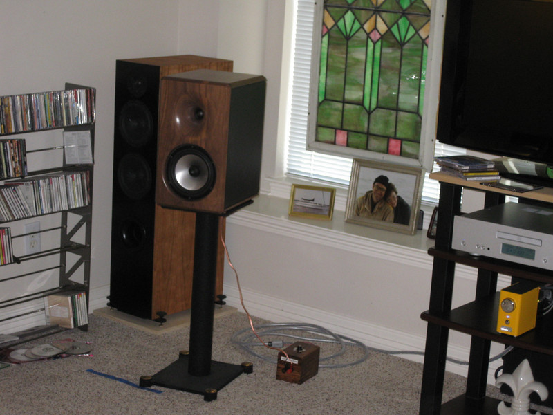 "The system with Sarah's Virtue Two's and the ""Black Box"" installed between the amp and speakers."