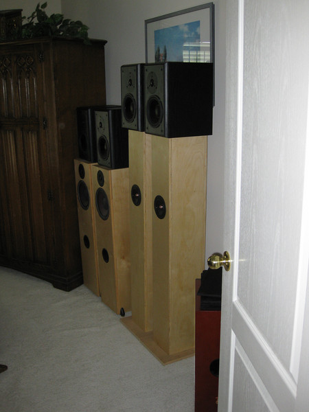 A peek into the door of one guest room which also serves as a speaker storeroom. Pictured are the Pi Speakers One Pi Tower, the Jim Griffin full range single driver MLTL bipoles, and stacked atop both speakers are PE BR-1's. Barely visible behind the door is the back of one Dayton III MTM.