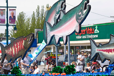 Hyde Creek Streamkeepers float. May Day celebrations in Port Coquitlam 2013