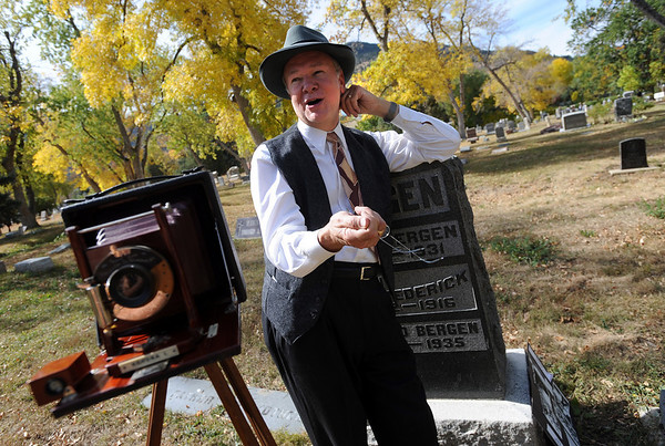 """Chuck Sanders plays """"Eben G. Fine, Mr. Boulder,"""" during Historic Boulder's """"Meet the Spirits"""" on Sunday at historic Columbia Cemetery.<br /> For more photos and a video of the spirits, go to  <a href=""""http://www.dailycamera.com"""">http://www.dailycamera.com</a>.<br /> Cliff Grassmick / October 17, 2010"""