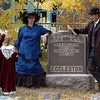 "Susan Schigur, and her daughters, Ella and Cali, left, listen to the story of George and Sarah Eggleston, played by Sharman and David Straub.<br /> For more photos and a video of the spirits, go to  <a href=""http://www.dailycamera.com"">http://www.dailycamera.com</a>.<br /> Cliff Grassmick / October 17, 2010"