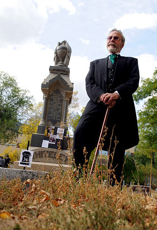 """Richard Whiteley, Sr."" tells his life story at his Columbia Cemetery grave site during Meet the Spirits. He is being played by Bo Stephens.<br /> For more photos and a video of the spirits, go to  <a href=""http://www.dailycamera.com"">http://www.dailycamera.com</a>.<br /> Cliff Grassmick / October 17, 2010"