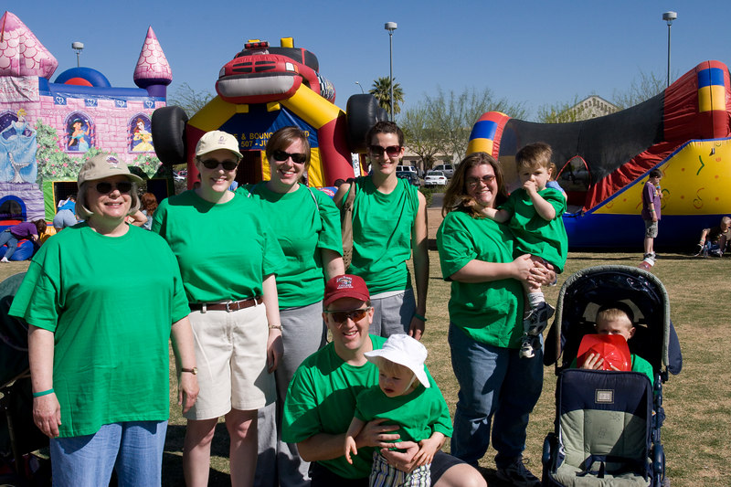 The team: (L to R) Grammie, Mommy, Becky, Daddy, Megan, Bianca, Julie, Jake, and Ryan