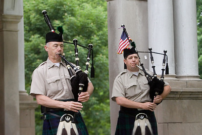 Bagpipers Tom Murphy, left, and Eric Blanken, both of DeKalb, with DeKalb Fire's Highland Honor Guard at the Ellwood House in DeKalb, Ill. during a Memorial Day observance on Monday, May 27, 2013.