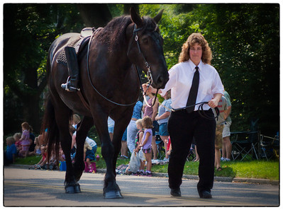 Riderless horse in Memorial Day parade on East High Street in Mount Vernon, Ohio. Date: May 28, 2012