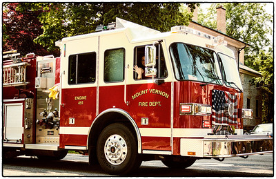 Firetruck in Memorial Day parade on East High Street in Mount Vernon, Ohio. Date: May 28, 2012